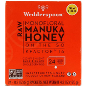 Wedderspoon Raw Monofloral Manuka Honey On the Go KFactor 16 24 Packs 0.2 oz (5 g) Each