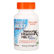 Doctor's Best Natural Vitamin K2 MK-7 with MenaQ7 45 mcg 60 Veggie Caps