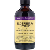 Honey Gardens Elderyberry Syrup with Apitherapy Raw Honey Organic Apple Cider Vinegar and Propolis 8 fl oz (240 ml)