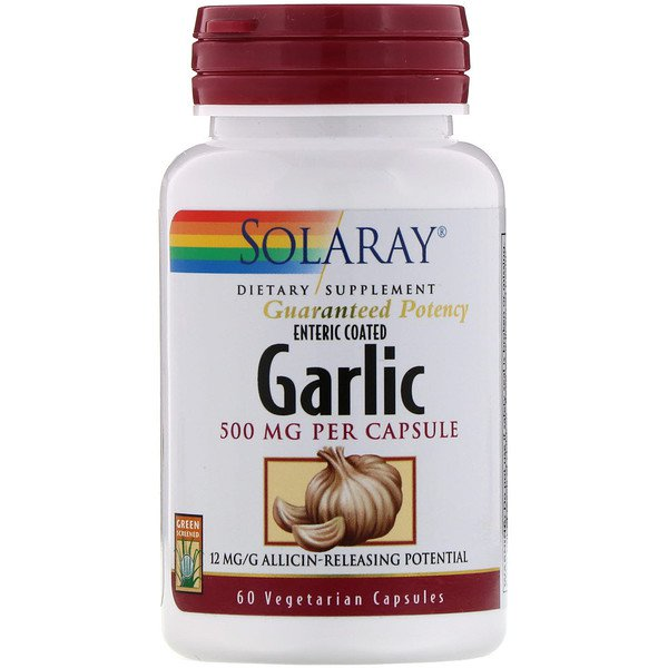 Solaray Enteric Coated Garlic 500 mg 60 Vegetarian Capsules