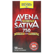 Natural Balance Avena Sativa Wild Oats 750 mg 50 Tablets