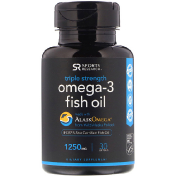 Sports Research Omega-3 Fish Oil Triple Strength Triglyceride Form 1250 mg 30 Softgels