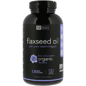Sports Research Flaxseed Oil with Plant Based Omega-3 1200 mg 180 Veggie Softgels