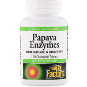 Natural Factors Papaya Enzymes with Amylase & Bromelain 120 Chewable Tablets