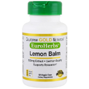 California Gold Nutrition Lemon Balm Extract European Quality 500 mg 60 Veggie Caps