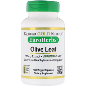 California Gold Nutrition EuroHerbs Olive Leaf Extract 500 mg 180 Veggie Capsules
