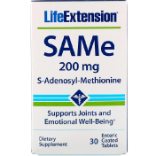 Life Extension SAMe S-Adenosyl-Methionine 200 mg 30 Enteric Coated Tablets
