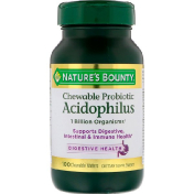Nature's Bounty Chewable Probiotic Acidophilus Natural Strawberry Flavor 100 Chewable Wafers