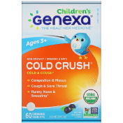 Genexa Cold Crush for Children Age 3+ Cold & Cough Organic Acai Berry Flavor 60 Chewable Tablets