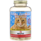 Actipet Feline Formula For Cats Natural Chicken & Tuna Flavor 90 Chewable Tablets