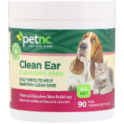 petnc NATURAL CARE Clean Ear Cleansing Pads For Cats and Dogs 90 Pads