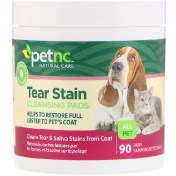 petnc NATURAL CARE Tear Stain Cleansing Pads For Cats & Dogs 90 Pads