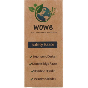 Wowe Double Edge Safety Razor with Bamboo Handle 1 Razor 5 Blades