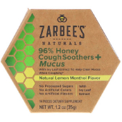 Zarbee's 96% Honey Cough Soothers + Mucus Natural Lemon Menthol Flavor 14 Pieces