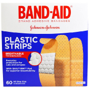 Band Aid Adhesive Bandages Plastic Strips 60 Bandages