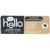 Hello Fluoride Free Whitening Toothpaste Activated Charcoal with Fresh Mint + Coconut Oil 4 oz (113 g)