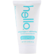 Hello Antiplaque + Whitening Fluoride Free Toothpaste Natural Peppermint 1 oz (28.3 g)​