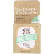 Dr. Ginger's Coconut Oil Xylitol + White Charcoal Floss Coconut Mint 32 yds (30 m)