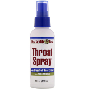 NutriBiotic Throat Spray with Grapefruit Seed Extract plus Zinc & Menthol 4 fl oz (118 ml)