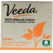 Veeda 100% Natural Cotton Tampon with Plastic Applicator Super Plus 16 Tampons
