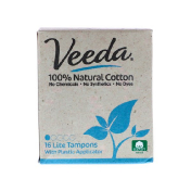 Veeda 100% Natural Cotton Tampon with Plastic Applicator Lite 16 Tampons