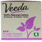 Veeda 100% Natural Cotton Tampon with Plastic Applicator Super 16 Tampons