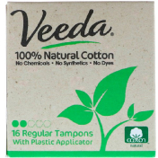 Veeda 100% Natural Cotton Tampon with Plastic Applicator Regular 16 Tampons