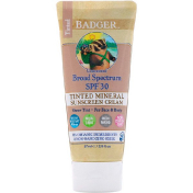 Badger Company Tinted Mineral Sunscreen Cream Broad Spectrum SPF 30 Unscented 2.9 fl oz (87 ml)