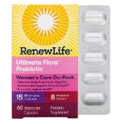 Renew Life Women's Care Go-Pack Ultimate Flora Probiotic 15 Billion Live Cultures 60 Vegetarian Capsules
