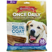 The Missing Link Once Daily Superfood Dental Chew Skin Coat and Teeth For Large To Extra Large Dogs 28 Chews 2.2 lbs (1 kg)