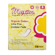 Maxim Hygiene Products Organic Cotton Ultra Thin Contour Pads Regular 14 Count