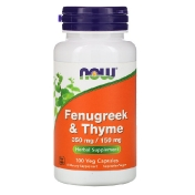 Now Foods Fenugreek & Thyme 350 mg/150 mg 100 Veg Capsules