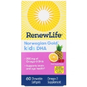 Renew Life Norwegian Gold Kids DHA Fruit Punch Flavor 200 mg 60 Chewable Softgels
