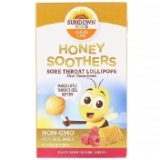 Sundown Naturals Kids Honey Soothers Sore Throat Lollipops Buzzin' Berry 10 Pectin Pops