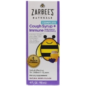 Zarbee's Children's Complete Cough Syrup + Immune Dark Honey & Elderberry Non-alcohol Formula Natural Berry Flavor 4 fl oz (118 ml)