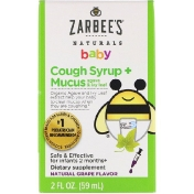 Zarbee's Baby Cough Syrup + Mucus Agave and Ivy Leaf Natural Grape Flavor 2 fl oz (59 ml)