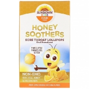Sundown Naturals Kids Honey Soothers Sore Throat Lollipops Oral Demulcent Aww-Some Orange 10 Pectin Pops