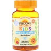 Sundown Naturals Kids Kids Probiotic Gummies Pineapple Raspberry & Orange Flavored 2 Billion Live Cultures 30 Gummies