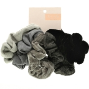 Kitsch Velvet Scrunchies Black/Gray 5 Count