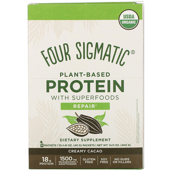 Four Sigmatic Plant-Based Protein with Superfoods Creamy Cacao 10 Packets 1.41 oz (40 g)