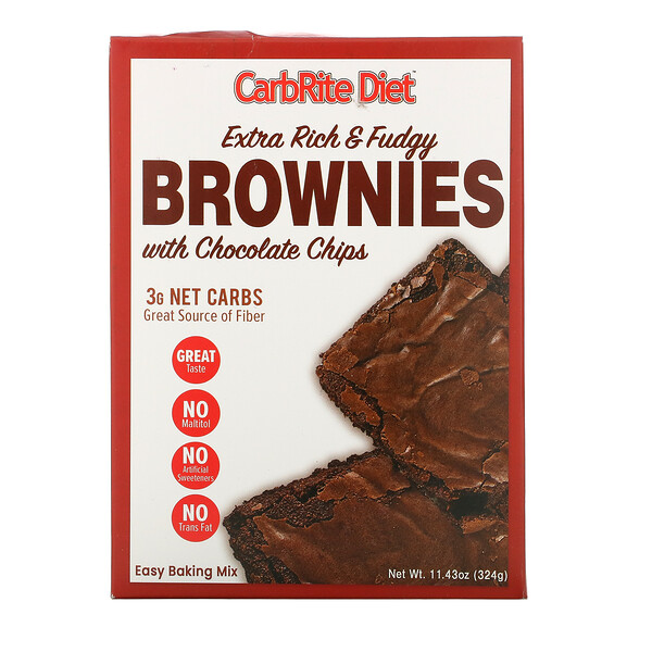 Universal Nutrition CarbRite Diet Extra Rich & Fudgy Brownies with Chocolate Chips Maltitol-Free 11.43 oz (324 g)