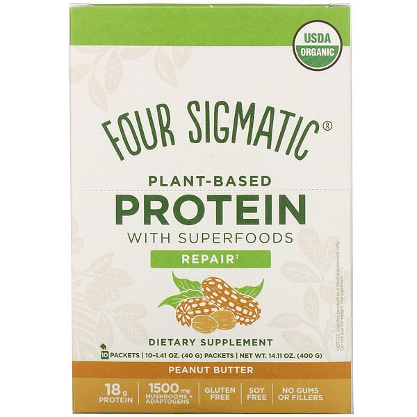 Four Sigmatic Plant-Based Protein with Superfoods Peanut Butter 10 Packets 1.41 oz (40 g) Each