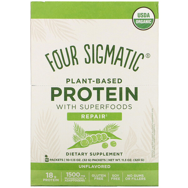 Four Sigmatic Plant-Based Protein with Superfoods Unflavored 10 Packets 1.13 oz (32 g) Each