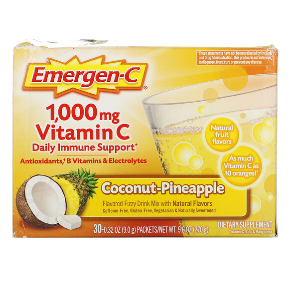 Emergen-C Vitamin C Coconut-Pineapple 1 000 mg 30 Packets 0.32 oz (9.0 g) Each