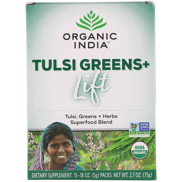 Organic India Tulsi Greens+ Lift Superfood Blend 15 Packs 0.18 oz (5 g) Each
