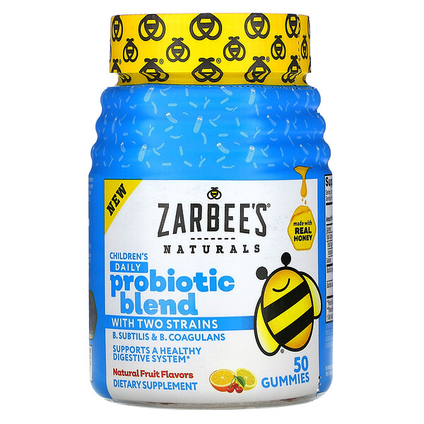Zarbee's Children's Daily Probiotic Blend with Two Strains Natural Fruit Flavors 50 Gummies