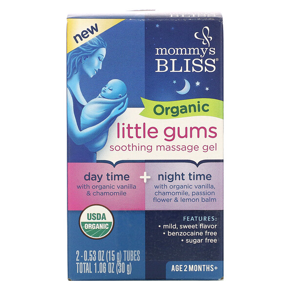 Mommy's Bliss Organic Little Gums Soothing Massage Gel Day/Night Pack 2 Tubes 0.53 oz (15 g) Each