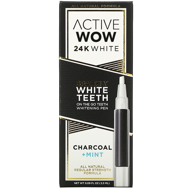 Active Wow 24K White Sparkly Teeth Whitening Pen Charcoal + Mint 0.09 fl oz (2.5 ml)