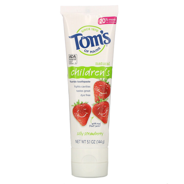 Tom's of Maine Children's Fluoride Toothpaste Silly Strawberry 5.1 oz (144 g)