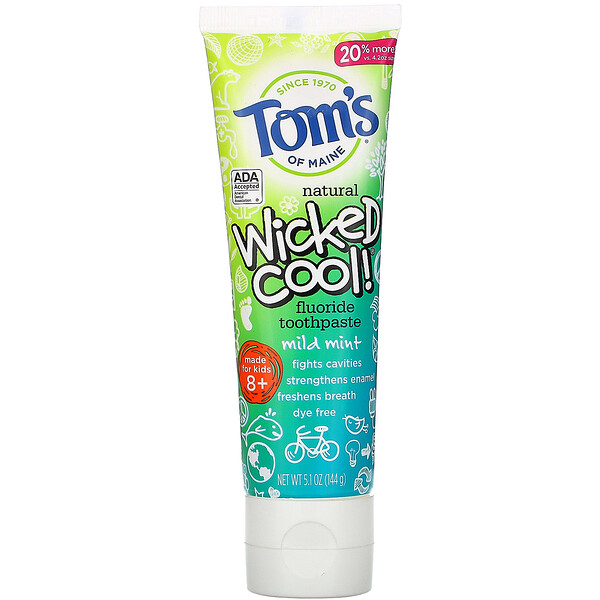 Tom's of Maine Wicked Cool! Natural Fluoride Toothpaste Kids 8+ Wild Mint 5.1 oz (144 g)